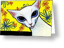 Foreign White Cat Greeting Card by Leanne Wilkes