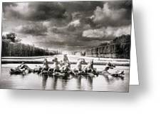 Fountain With Sea Gods At The Palace Of Versailles In Paris Greeting Card by Simon Marsden