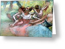 Four Ballerinas On The Stage Greeting Card by Edgar Degas