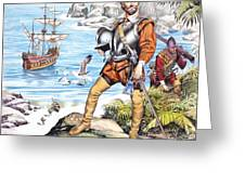 Francis Drake And The Golden Hind Greeting Card by Ron Embleton