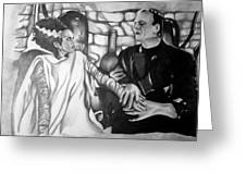 Frankenstein And His Bride Greeting Card by Pauline Murphy