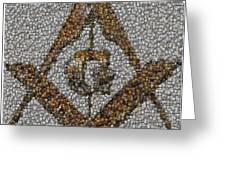 Freemason Coin Mosaic Greeting Card by Paul Van Scott