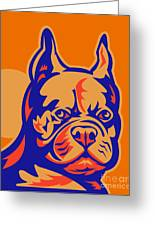 French Bulldog Head Portrait Retro Greeting Card by Aloysius Patrimonio