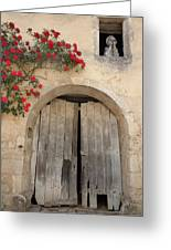 French Doors And Ghost In The Window Greeting Card by Marilyn Dunlap