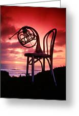 French Horn On Chair Greeting Card by Garry Gay