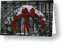 Fresh Snow Covers A Christmas Wreath Greeting Card by Stephen St. John
