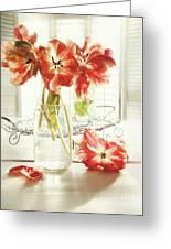 Fresh Spring Tulips In Old Milk Bottle  Greeting Card by Sandra Cunningham