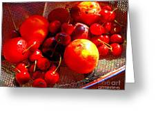 Fresh Stone Fruit Still Life - A Summer Paintograph Greeting Card by Christine S Zipps