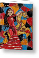 Frida Kahlo Dancing With The Unicorn Greeting Card by Rain Ririn