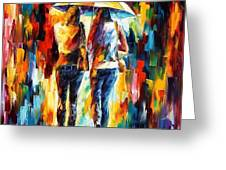 friends under the rain Greeting Card by Leonid Afremov