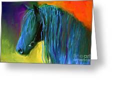 Friesian Horse Painting 2 Greeting Card by Svetlana Novikova