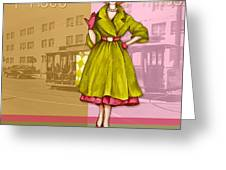 Frisco In The Fifties Shopping At I Magnin Greeting Card by Cindy Garber Iverson