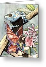 Frog Flowers And A Fairy Greeting Card by Preston Shupp