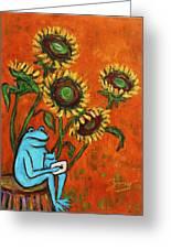 Frog I Padding Amongst Sunflowers Greeting Card by Xueling Zou