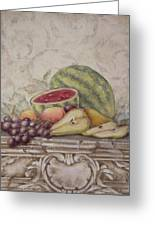 Fruit And Scroll With Watermelon Greeting Card by Rita   Broughton