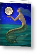 Full Moon Mermaid Greeting Card by Sue Halstenberg
