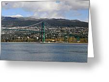 Full View Of The Lion's Gate Bridge Vancouver City  Greeting Card by Pierre Leclerc Photography
