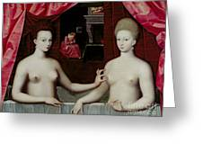 Gabrielle Destrees And Her Sister The Duchess Of Villars Greeting Card by Fontainebleau School