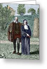 Galileo And His Daughter Maria Celeste Greeting Card by Sheila Terry