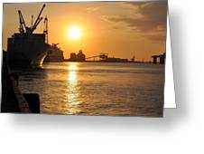 Galveston Harbor Greeting Card by John Collins