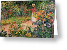Garden At Giverny Greeting Card by Claude Monet