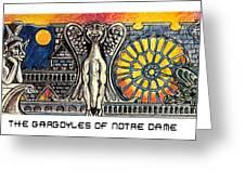 Gargoyles Of Notre Dame Greeting Card by John Keaton
