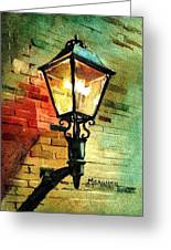 Gas Lamp Greeting Card by Spencer Meagher