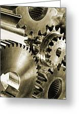 Gears And Cogwheels In Antique Look Greeting Card by Christian Lagereek