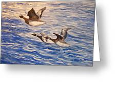 Geese In Flight Greeting Card by Siona Koubek