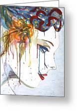 Geisha Soul Watercolor Painting Greeting Card by Georgeta  Blanaru