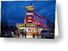 Geno's Steaks South Philly Greeting Card by John Greim
