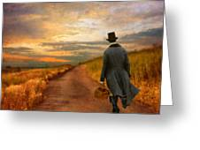 Gentleman Walking on Rural Road Greeting Card by Jill Battaglia