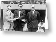 George Sisler - Babe Ruth and Ty Cobb - Baseball Legends Greeting Card by International  Images
