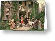 George Washington At Bartrams Garden Greeting Card by Jean Leon Jerome Ferris
