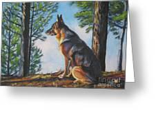 German Shepherd Lookout Greeting Card by Lee Ann Shepard