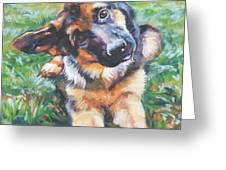 German shepherd pup with ball Greeting Card by L A Shepard