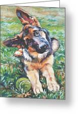 German Shepherd Pup With Ball Greeting Card by Lee Ann Shepard