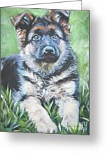 German Shepherd Puppy Greeting Card by Lee Ann Shepard