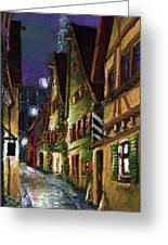 Germany Ulm Old Street Night Moon Greeting Card by Yuriy  Shevchuk