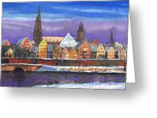 Germany Ulm Panorama Winter Greeting Card by Yuriy  Shevchuk