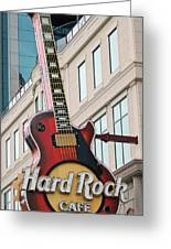 Gibson Les Paul Of The Hard Rock Cafe Greeting Card by DigiArt Diaries by Vicky B Fuller
