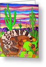 Gila Monster In Desert Greeting Card by Nick Gustafson