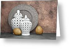 Ginger Jar With Pears II Greeting Card by Tom Mc Nemar