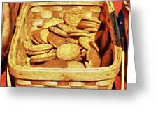 Ginger Snap Cookies In Basket Greeting Card by Susan Savad