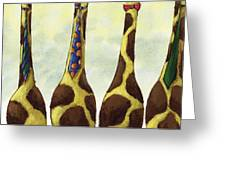 Giraffe Neckties Greeting Card by Christy Beckwith