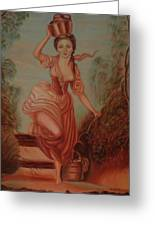 Girl Carrying Water Greeting Card by Margit Armbrust