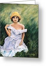 Girl In A Field Of Grass Greeting Card by Gayle  Hartman