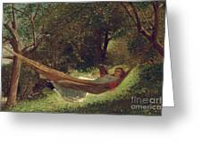 Girl in the Hammock Greeting Card by Winslow Homer