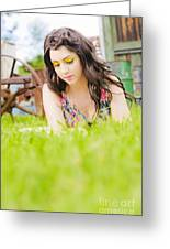 Girl Reading Book Greeting Card by Jorgo Photography - Wall Art Gallery
