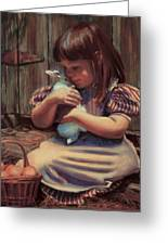 Girl With A Bunny Greeting Card by Jean Hildebrant